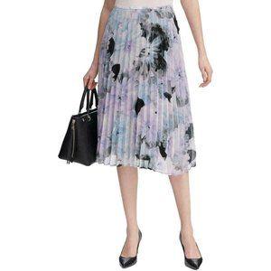 Calvin Klein Womens Purple Floral Print Pleated